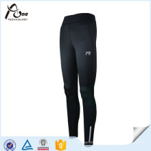 Women Black Polyester Spandex Leggings Running Wear
