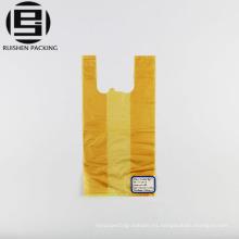 Bolso de camiseta de compras de hdpe amarillo con asa