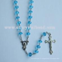 Acheter collier bleu pas cher cristal chapelet