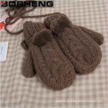 Mujeres Super grueso cálido guantes tejidos mitón con Fur Pompom
