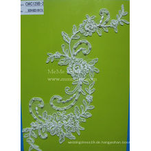 Elfenbein Appliqued Lace Stoff mit Perlen Braut Hochzeit Lace Fabric CMC129B-2