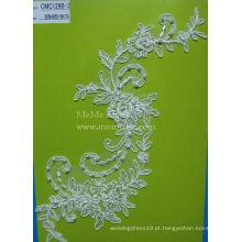Marfim Tecido De Renda Appliqued Com Pérolas Tecido De Casamento De Noiva CMC129B-2