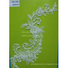 Слоновая кость аппликация кружева ткань с жемчуг Свадебные кружева ткани CMC129B-2 для новобрачных