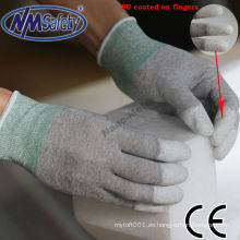 NMSAFETY pu dedo sumergido guantes de seguridad eléctrica del guante de trabajo de nylon fino