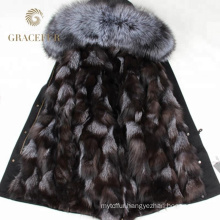 Hot Selling winter fur trim parka womens with fur lining