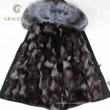 Горячие продажи зимней меховой отделкой куртка женская с меховой подкладкой