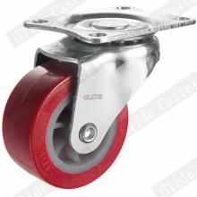 Roulette Pivotante PU Léger Rouge (G2201)