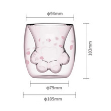 Factory Custom Wholesales Double Glass Tea Cup Cat