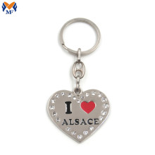 Metal Custom Heart Keyring With Crystal