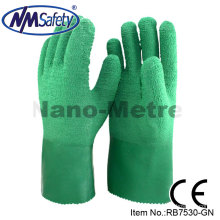NMSAFETY jersey knit liner coated high quality crinkle latex industrial long cuff gloves