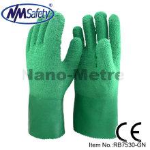 NMSAFETY jersey malha forro revestido de alta qualidade rugas de látex industrial luvas de punho longo