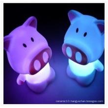 Cute Cartoon Pig Discus Night Light, Flash Rich Night Light