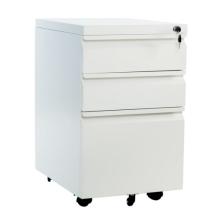 Mobiler Standfuß aus Metall in weiß mit 3 Schubladen