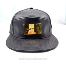 Full Leather 5 Panel Cap/Hat Flat Brim black Metal Chapter 5 Panel Camp Cap