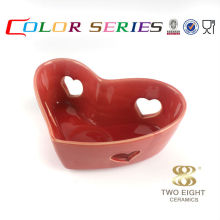 Heart shape ceramic red candle holder