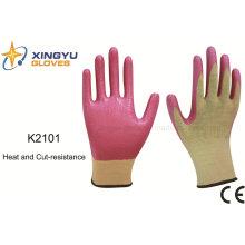 13G fibra de meta-aramida nitrilo revestido de calor y cortar resistencia guante de trabajo de seguridad (k2101)