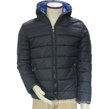 Shenzhen hiver coupe-vent thermique polyester / coton rembourré à capuche bleu loisirs veste extérieure