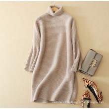 Damen Strick Cashmere-Pullover Kleid pure Kaschmir elegantes Kleid mit langen Ärmeln Rollkragen