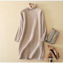 Ladies' knitwear cashmere sweater dress pure cashmere elegant dress with long sleeves turtleneck