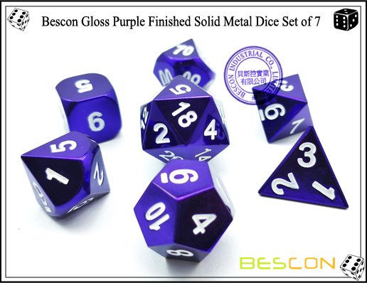 Bescon Gloss Purple Finished Solid Metal Dice Set of 7-2