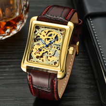 automatic skeleton business mens square watches