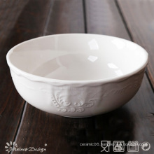 White Porcelain with Emboss Classic Design Bowl