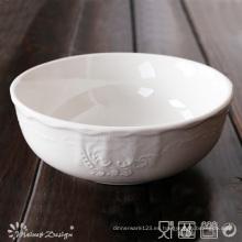 Porcelana blanca con relieve Tazón de diseño clásico