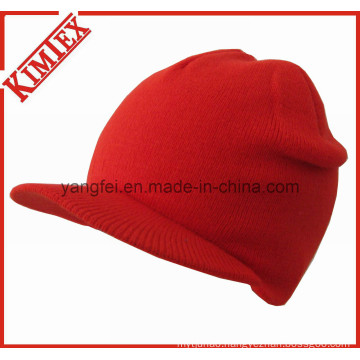 Winter Acrylic Fashion Knitted Billed Brim Hat