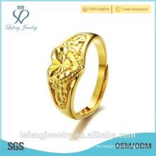 Handgefertigte hochglanzpolierte Größe verstellbare vergoldete Kupfer Hochzeit Herzringe