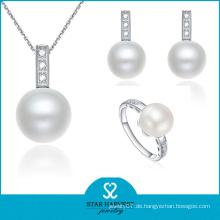 Frauen-Silber-runde Form-Art- und Weiseperlen-Ring und Halskette (J-0083)