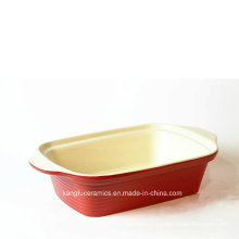 Red Color Glaze Two Handle Ceramic Bakeware
