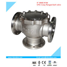"""Válvula de esfera de flange de aço inoxidável de 4 vias (NQ4-2 """")"""