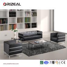 Canapé de bureau en cuir de haut de gamme de sofa de luxe de canapés de luxe de bases d'acier inoxydable pour la vente en gros