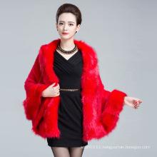 Lady Fashion Faux Fur Winter Knitted Shawl (YKY4457)