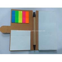 Promocional papel reciclado cuaderno pluma conjunto