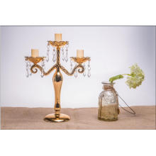 Golden Color Candle Holder for Wedding Decoration with Three Poster