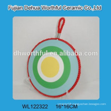 Hot sale fresh design ceramic pot mat with rope