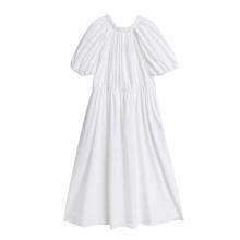 100% Cotton Ruffled Collar Retro Puff Sleeve MIDI Ladies Dress
