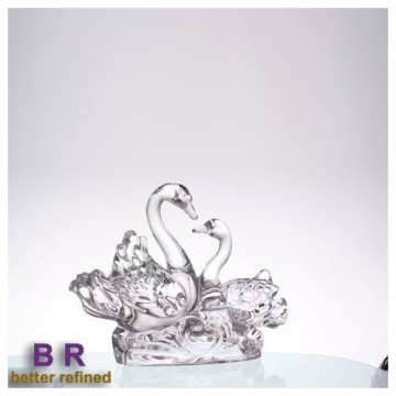 Crystal Elegant Couple Swan Als Glasdecoratie