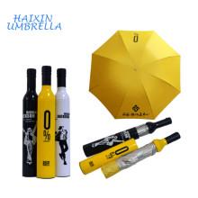 Regalo de vuelta de la boda Nueva moda promocional de 21 pulgadas de la botella de vino de la lluvia paraguas de plástico cubierta para Corporate Giveway
