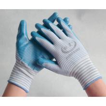 Luvas de trabalho de malha de nylon de 13 gauge revestidas com nitrilo na palma