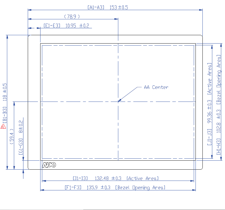 AUO 6.5 Inch TFT-LCD Module V2 drawing