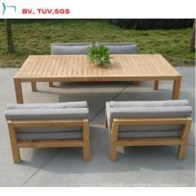 Sofá de jantar de madeira teca ao ar livre com coxim para venda (CF845)