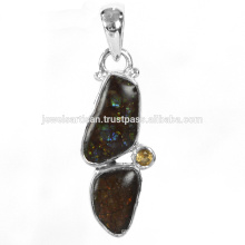 Beautiful Ammolite And Citrine Gemstone 925 Sterling Silver Pendant Jewelry