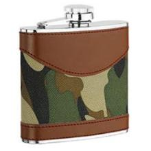 gainé de cuir hip flask, vin pot