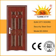 Porta de segurança de aço de entrada comercial com dobradiças (SC-S004)