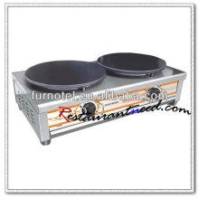 K495 2 platos de acero inoxidable Crepe fabricante de sobremesa eléctrica para 2