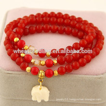 Cheap glass beads thick rubber band bracelets