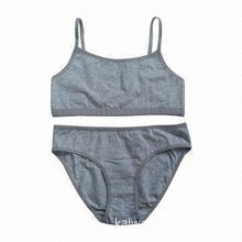 Girls' Bra and Brief Set in Solid Color, Good Stretch and Soft, Azo-free Style