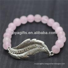 Wholesale Diamante Feather With 8MM Semi Precious Stone Stretch Bracelet
